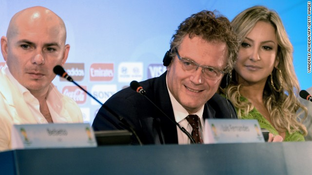 FIFA secretary general Jerome Valcke (center) officially announces the artitsts who will perform on the single, with Brazilian artist Claudia Leitte also set to feature.