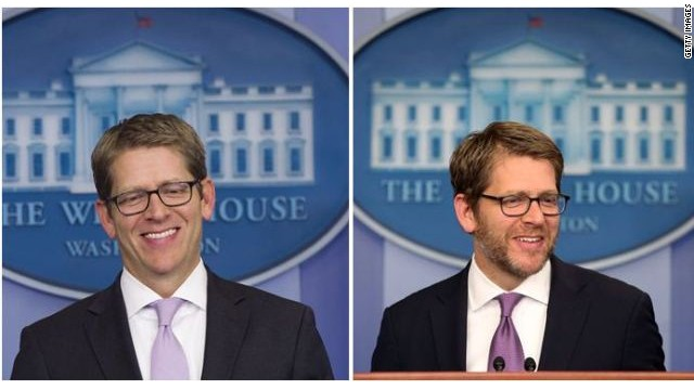 Jay Carney is clean-shaven
