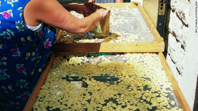 "Puglia is Italy's breadbasket, wheat and olive oil being produced there in abundance. Orecchiette means ""little ears."""