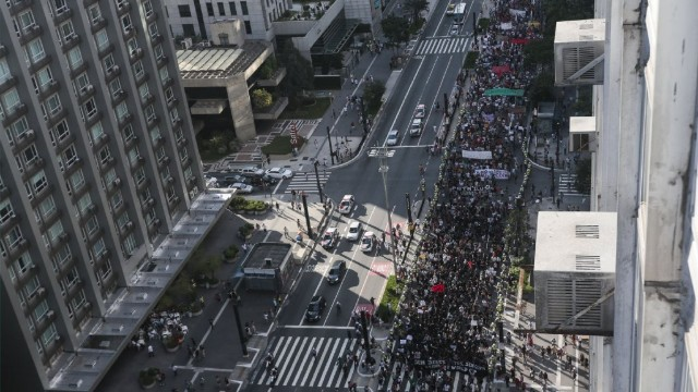 An aerial view of the protestors along Sao Paulo's Avenue Paulista.