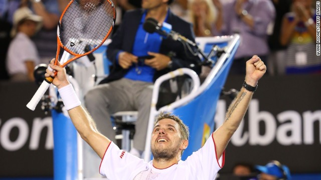 Stanislas Wawrinka savors the moment of victory in Melbourne after recording a dramatic victory over world no. 1 Rafael Nadal.
