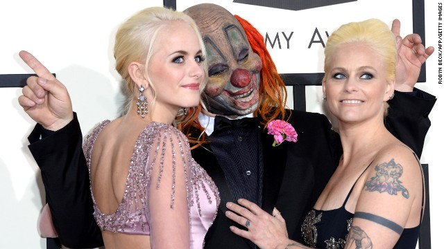 Shawn Crahan of Slipknot with his wife, Chantel, and one of his daughters