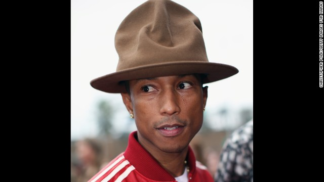 Pharrell Williams arrives at the 56th annual Grammy Awards on January 26.