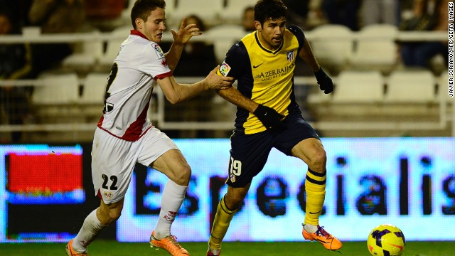 Atletico Madrid's Diego Costa (right) in action during the La Liga game against Rayo Vallecano on Sunday.