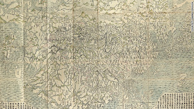 This woodblock is the first Buddhist world map printed in Japan and the prototype for all subsequent Buddhist world maps printed in Japan until the late 19th century. As an amazing example of Buddhist cosmology combined with real world cartography, the map shows a large India, where Buddha was born, as the heart of the world and echoes the pilgrimage route of famous Chinese Buddhist priest Hsuan-Tsang who traveled to India to visit sacred Buddhist places.