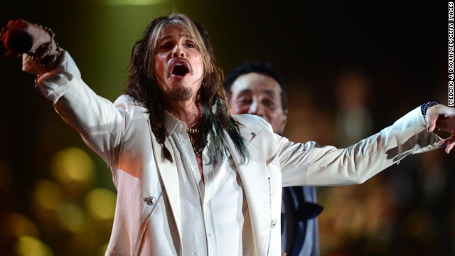 The only thing upstaging Steven Tyler's rock-star-white suit was his mustache.