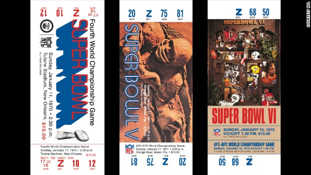 Tickets for Super Bowls IV, V and VI. The NFL uses Roman numerals for the annual event.