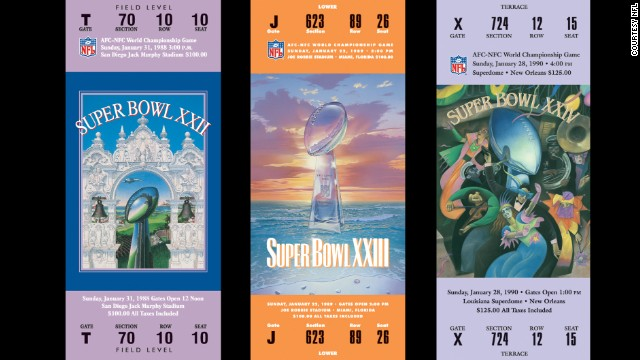 Tickets for Super Bowls XXII, XXIII and XXIV.