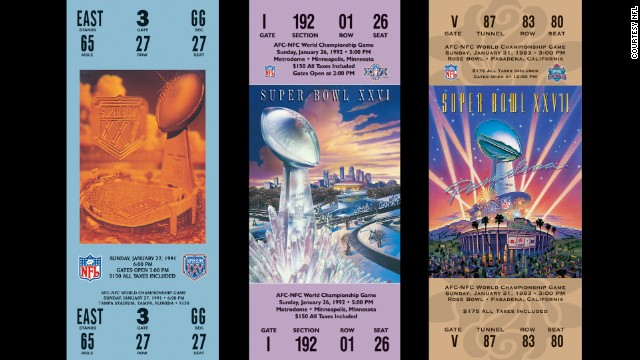 Tickets for Super Bowl championships XXV, XXVI, XXVII.
