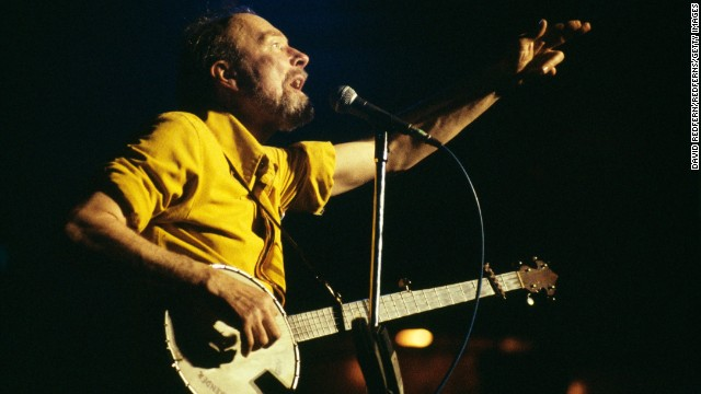 Legendary folk singer and political activist Pete Seeger died of natural causes on January 27, his grandson told CNN. He was 94. Pictured, Seeger performs on stage in 1970.