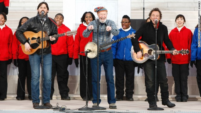 "Seeger performs with Tao Rodriguez-Seeger, left, and Bruce Springsteen, right, at ""We Are One: The Obama Inaugural Celebration At The Lincoln Memorial"" in 2009."
