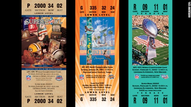 Tickets for Super Bowl championships XXXIV, XXXV, XXXVI.