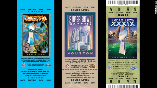 Tickets for Super Bowl championships XXXVII, XXXVIII, XXIX.