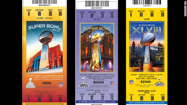 Tickets for Super Bowl championships XLVI, XLVII, XLVIII.