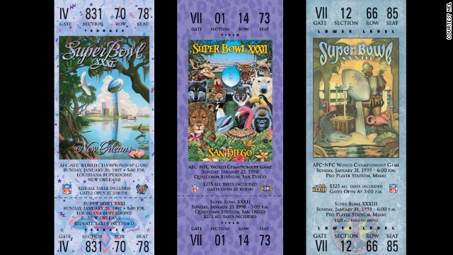 Tickets for Super Bowls XXXI, XXXII and XXXIII.