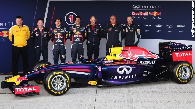 Team Red Bull launches its new car at the Jerez track in Spain on the morn