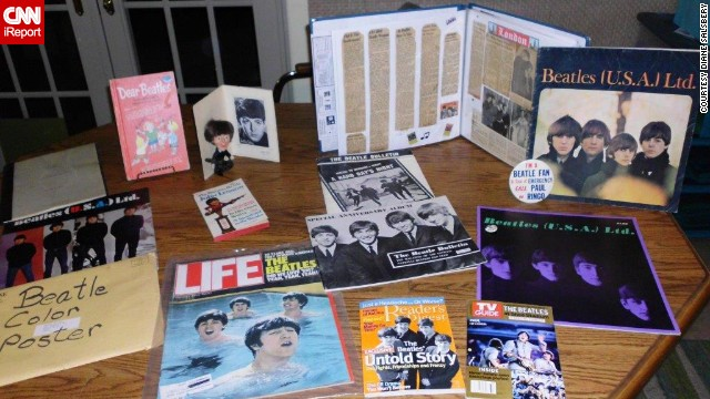 "<a href='http://ireport.cnn.com/docs/DOC-1076420'>Diane Salsbery</a> of Phoenix has collected Beatles memorabilia for 50 years. ""Most of the memorabilia that I have includes articles from magazines, concert programs, the script from 'A Hard Day's Night,' a Beatles poster from '16' magazine, the Christmas record, and almost all of the original albums and singles including the DJ copy of 'Please, Please Me.'"""