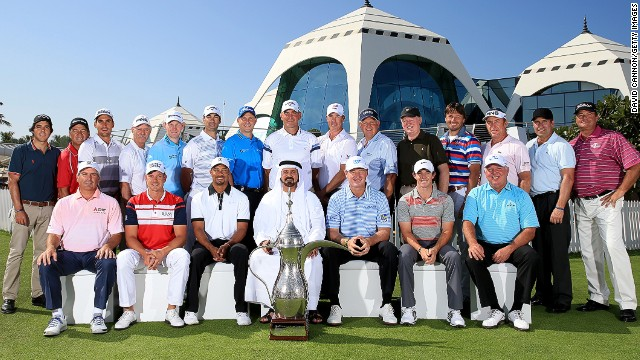 Other former winners include Ernie Els, Rory McIlroy, Colin Montgomerie and Spanish duo Jose Maria Olazabal and Miguel Angel Jimenez, with the champions posing with the distinct trophy alongside Mohamed Juma Buamaim, the vice-chairman and CEO of Golf In Dubai.