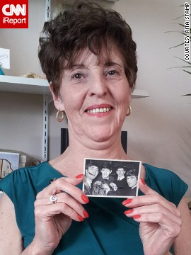"<a href='http://ireport.cnn.com/docs/DOC-1078564'>Rita Stamp</a> was one of many young people around the world who were caught up in ""Beatlemania"" when the famous band first visited the United States in February 1964. Stamp, now 67, will never forget finding this photo of the Beatles (complete with facsimile autograph by George Harrison) in a pack of bubble gum. ""This photo is my earliest memory of the Beatles because, at least, I was able to see what they looked like and that gave me the ability to connect with their music."""