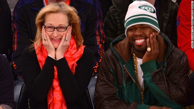 We had no idea Meryl Streep and 50 Cent had a budding friendship until the rapper shared photos of himself hanging out with the Oscar winner at an NBA game between the Los Angeles Lakers and the New York Knicks on January 26. Not only were the two clearly having a ball courtside, <a href='http://bleacherreport.com/articles/1937415-50-cent-sits-by-meryl-streep-hangs-out-with-kobe-bryant-at-lakers-knicks-game' target='_blank'>but they seemed chummy off the court as well as they ran into Lakers star Kobe Bryant</a>.