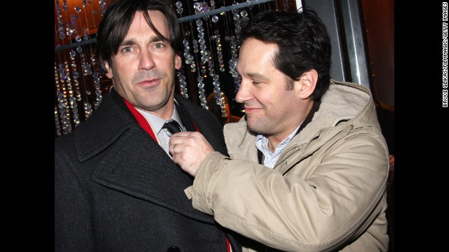 Hollywood hunks Jon Hamm, left, and Paul Rudd have a friendship that's lasted for years. Their bond stretches all the way back to high school, and Hamm still calls Rudd <a href='tvline.com/2011/06/20/emmy-jon-hamm-career-don-draper-comedy/' target='_blank'>one of his oldest pals in Hollywood.</a>