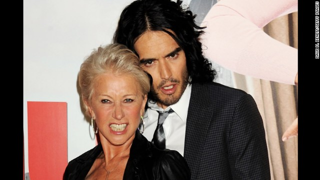"Helen Mirren and Russell Brand have a rather, er, intimate friendship. The two ""Arthur"" co-stars get along well off-set, too, <a href='http://www.nydailynews.com/entertainment/tv-movies/lather-helen-mirren-caught-giving-russell-brand-bath-set-arthur-article-1.201435' target='_blank'>as this photo of Mirren</a> giving Brand a bath in 2010 shows. ""We are best ... we are really close friends,"" Mirren told <a href='http://www.usmagazine.com/celebrity-body/news/helen-mirren-im-going-to-frame-russell-brands-underwear-2011241' target='_blank'>Us Weekly</a> in 2011."