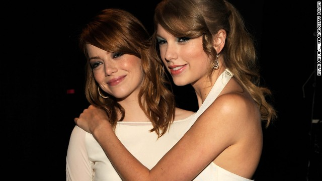 "Speaking of Selena Gomez, one of her definite BFFs, Taylor Swift, is also surprisingly good pals with Emma Stone. We didn't think the worlds of Hollywood and Nashville crossed all that much, but Stone loves that Swift can make her laugh. ""We're very different, but (Swift) has a sick sense of humor,"" <a href='http://www.mtv.com/news/articles/1635422/taylor-swift-has-sick-sense-humor-pal-emma-stone.jhtml' target='_blank'>Stone once told MTV.</a>"