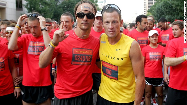 "Matthew McConaughey, left, has stood by his friend Lance Armstrong as he's faced backlash from his 2013 doping scandal. The two Texas natives have known each other for years, and <a href='http://www.mtv.com/news/articles/1700519/lance-armstrong-scandal-matthew-mcconaughey-comment.jhtml' target='_blank'>McConaughey admitted that his first reaction</a> was to be angry at and sad for his pal. ""I had a part of me that took it kind of personally,"" McConaughey said, but he soon realized ""that those of us that took that personally, like, 'Oh, he lied to me,' it's not true. ... Where I am now is I've put myself out of the way and I am happy for this guy, who has now chosen to re-enter this new chapter of his life a truly free man."""