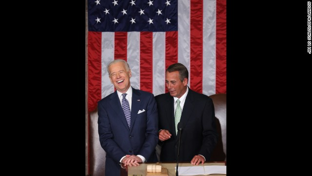 Vice President Joe Biden, left, and Speaker of the House John Boehner before the speech.