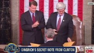 Bill Clinton passed Newt Gingrich a secret note