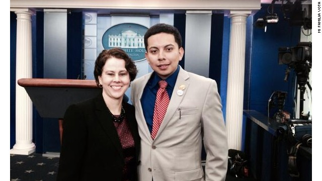 Cristian Avila, 23, here with director of the White House Domestic Policy Council Cecilia Muñoz, was invited to sit in Michelle Obama's viewing box for the State of the Union as part of the President's message to