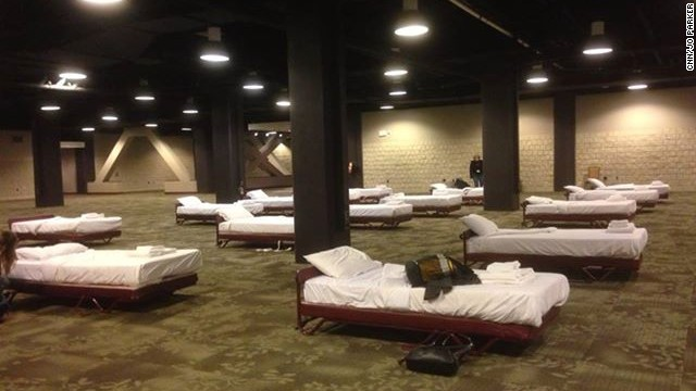 CNN Video Producer <a href='http://ireport.cnn.com/docs/DOC-1079327'>Jo Parker</a> slept alongside other female staffers in the basement of the Omni Hotel in Atlanta, where all rooms were booked. Male CNN staffers had less luxurious accommodations in the employee gym.