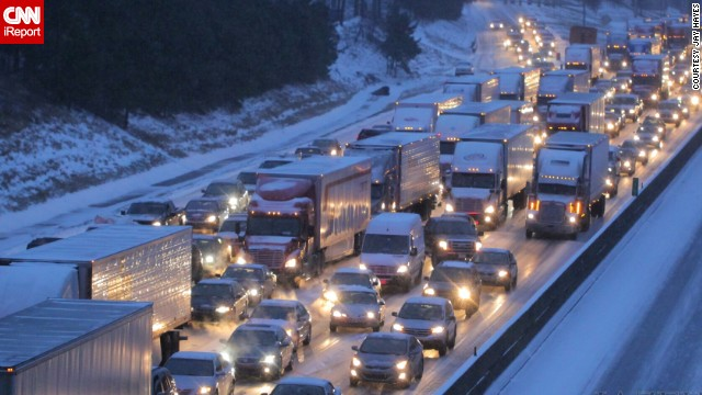 "Officials said that 1,254 accidents were reported in Georgia's snowstorm. Jay Hayes shot this photo of I-285 around 5 p.m. Tuesday. ""I've lived in Atlanta since 2001, and I have never come across a situation where the city was so unprepared,"" he said."