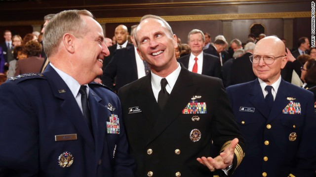 Air Force Chief of Staff Gen. Mark Welsh, from left, Chief of Naval Operations Jon Greenert, Coast Guard Commandant Adm. Robert Papp arrive for President Barack Obama's State of the Union address.