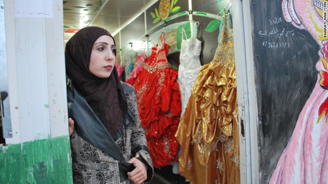 Rowaida Abu-Zaid used to own a salon in Syria. She now runs one of three wedding shops in Zaatari. In the summer she says she organizes up to four weddings a day.