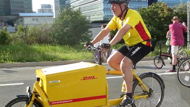 Several delivery companies, including DHL, Parcelforce and TNT, have integrated cargo bikes into their business models, often using them to transport goods the first and last mile of a journey.