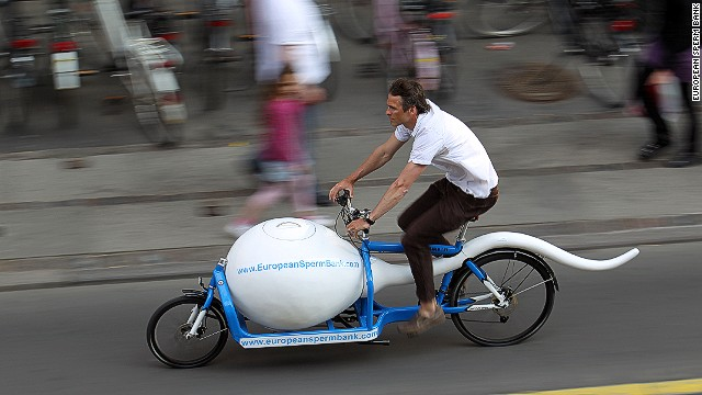 Cargo bikes have advanced in recent years. Nowadays, they can carry bulk, as well as items that require refrigeration. The European Sperm Bank in Copenhagen uses a bike to transport sperm samples across town.