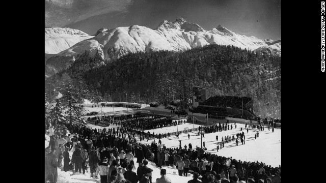 Spectators gather to watch the opening ceremony of the 1948 Winter Olympics in St. Moritz, Switzerland.