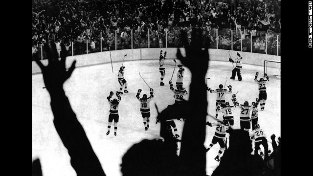 "The U.S. hockey team celebrates its 4-3 victory over the Soviet Union at the 1980 Winter Olympics in Lake Placid in a game dubbed ""the Miracle on Ice."" The United States went on to win the gold medal by defeating Finland 4-2."