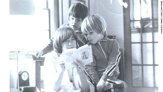 Matt Damon, right, at 5, and Kyle Damon, 8, listen to their mother Nancy Carlsson-Paige reading Beatrix Potter in 1975.