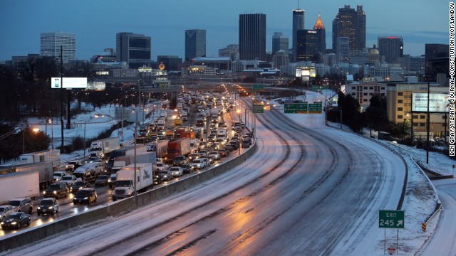 As dawn breaks on January 29, southbound traffic is at a standstill near downtown Atlanta.