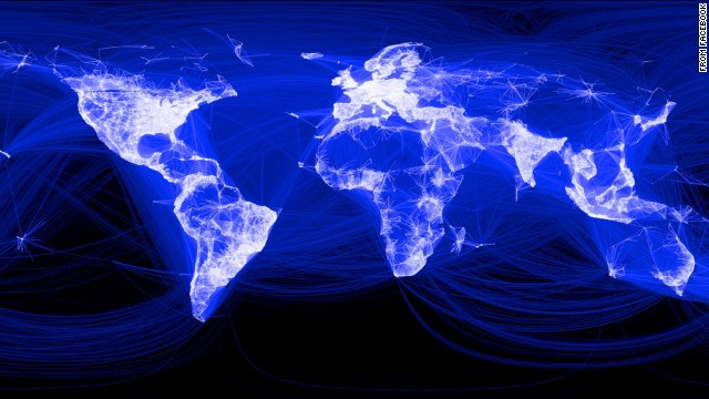 Facebook published this map in 2013 that shows its global reach. The lighter a country or region, the higher its concentration of Facebook users (note the black hole of China). Some believe the social network has reached a saturation point and is poised for a decline, especially among fickle younger users.