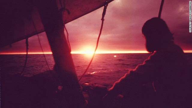 The sun approaches the horizon over the Pacific Ocean. According to Las Balsas explorer Mike Fitzgibbons, the sunrises and sunsets over the Pacific were some of the most beautiful he has ever seen.