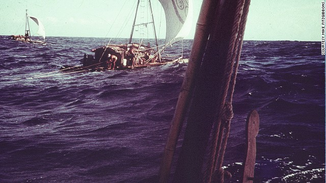 Sharks weren't the only danger. A violent storm lasting eight days separated one of the rafts and knocked out its radio. It took days for all the vessels to rendezvous with each other once more.