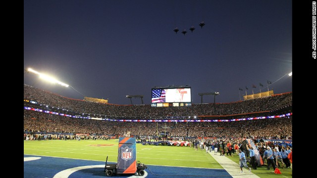 Military flyovers at previous Super Bowls include 2010's matchup between the New Orleans Saints and the Indianapolis Colts, when jets flew over Sun Life Stadium in Miami Gardens, Florida.
