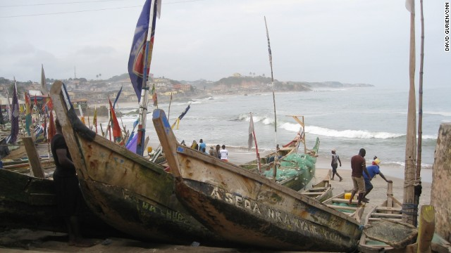 Fishing boats on the beach outside the Door of No Return.