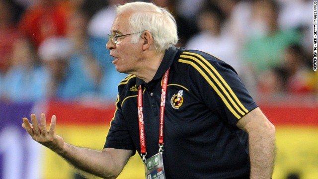 Luis Aragones gestures during his finest moment as Spain's national football coach -- victory over Germany in the final of Euro 2008.