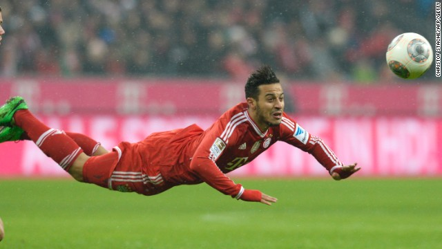 Thiago Alcantara makes one of his Bundesliga record 185 touches in the comprehensive victory for Bayern.