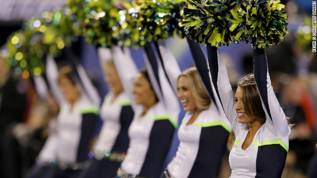 The Seahawks cheerleading squad had more to celebrate as its team took a stranglehold on the Super Bowl from the start.