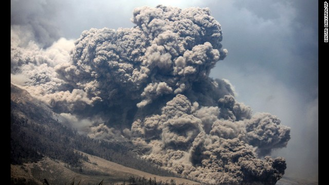 Volcano erupts in Indonesia